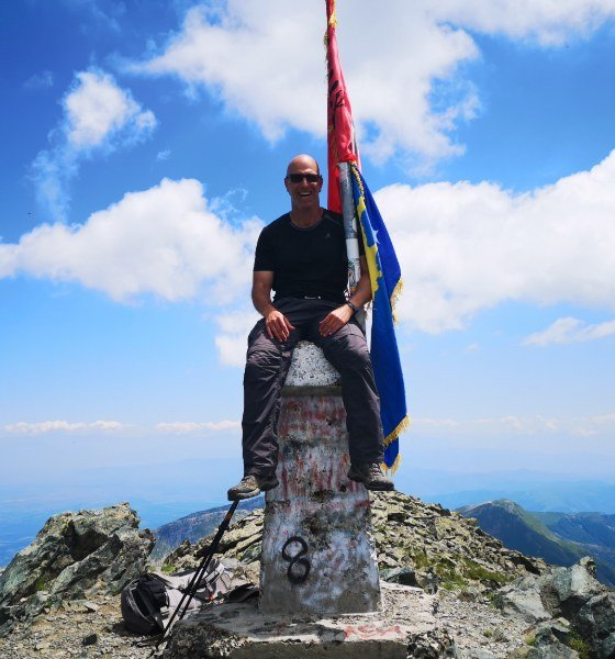 Mount Gjeravica Balkan Mountains, a happy guest on the top